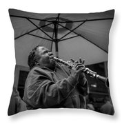 Clarinet Player In New Orleans Throw Pillow by David Morefield