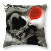 Clarity - Black And White Art Red Painting Throw Pillow