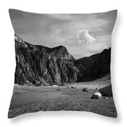 Clarks Fork Canyon Interior Bw 1 Throw Pillow