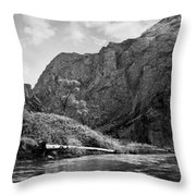 Clarks Fork River In Canyon Bw Throw Pillow