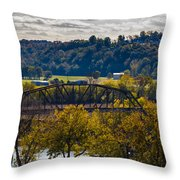 Clarksville Railroad Bridge Throw Pillow