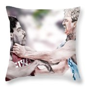 Clash Of The Titans 1984 - Bird And Doctor  J Throw Pillow by Reggie Duffie