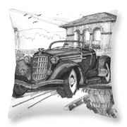 Classic Auto With Formal Gardens Throw Pillow