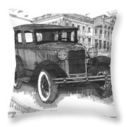 Classic Auto With Mills Mansion Throw Pillow