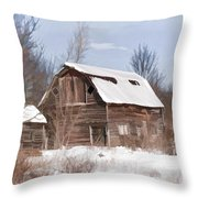 Classic Barn In Snow Throw Pillow