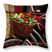 Classic Bicycle With Tulips Throw Pillow