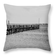 Classic Black And White Pier Scene Throw Pillow
