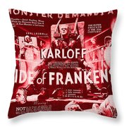 Classic Bride Of Frankenstein Poster Throw Pillow