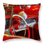 Classic Cadillac Beauty In Red Throw Pillow
