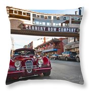 Classic Cannery Row - Monterey California With A Vintage Red Car. Throw Pillow