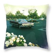 Classic Car Family Outing Throw Pillow