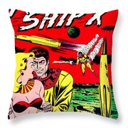 Classic Comic Book Cover - Rocket Ship X - 1225 Throw Pillow by Wingsdomain Art and Photography