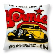 Classic Drive In Sign Throw Pillow
