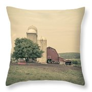 Classic Farm With Red Barn And Silos Throw Pillow