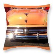 Classic Ford Car Hood Peach Throw Pillow