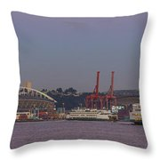 Classic Full Moon And Ferries Panorama Throw Pillow