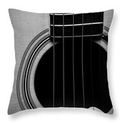 Classic Guitar In Black And White Throw Pillow