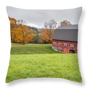 Classic New England Fall Farm Scene Throw Pillow