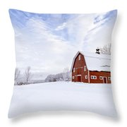 Classic New England Red Barn In Winter Throw Pillow