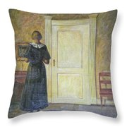 classic oil painting art-The back of the girl #16-2-1-04 Throw Pillow