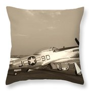 Classic P-51 Mustang Fighter Plane Throw Pillow