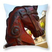 Classic Red Horsehead Post Throw Pillow