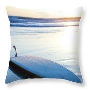Classic Single-fin Long Board Surfboard Throw Pillow