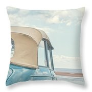 Classic Vintage Morris Minor 1000 Convertible At The Beach Throw Pillow
