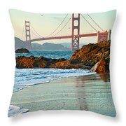 Classic - World Famous Golden Gate Bridge With A Scenic Beach And Birds. Throw Pillow