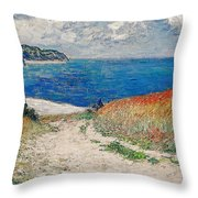Claude Monet's Path In The Wheat Fields At Pourville-1882 Throw Pillow