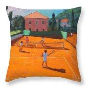 Clay Court Tennis Throw Pillow