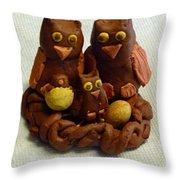 Clay Owl Family Throw Pillow