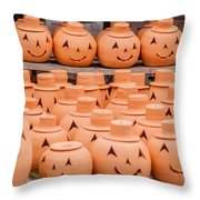 Clay Pumpkins Standing Happy Near The Wood Fence Throw Pillow