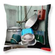 Clean Pots And Pans On Outdoor Sink Throw Pillow