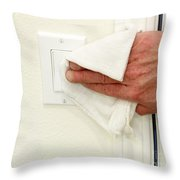 Cleaning A Light Switch Throw Pillow
