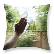 Cleaning A Window Throw Pillow