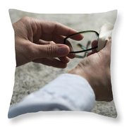 Cleaning Her Eyeglasses Throw Pillow