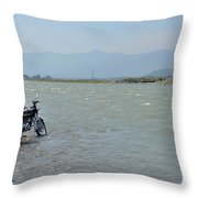 Cleaning Motorcycle At Riverside Swat Valley Pakistan Throw Pillow
