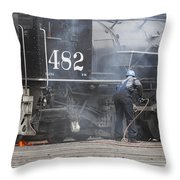 Cleaning Out The Coal Throw Pillow