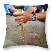 Cleaning Snappers Throw Pillow