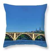 Clear Blue Skies At Key Bridge Throw Pillow