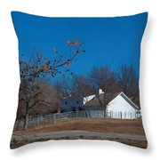 Clear Blue Sky - Oil On Canvas Throw Pillow