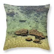 Clear Indian Ocean Water With Rocks At Galle Sri Lanka Throw Pillow