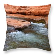Clear Water At Slide Rock Throw Pillow by Carol Groenen