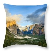 Clearing Storm - Yosemite National Park From Tunnel View. Throw Pillow