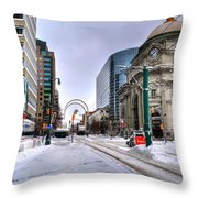 Clearing The Way...downtown Buffalo Ny 2014 Throw Pillow