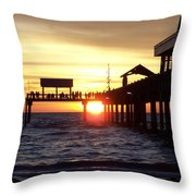Clearwater Beach Pier Throw Pillow