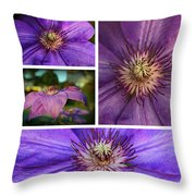 Clematis Collage Throw Pillow