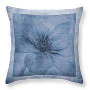 Clematis Cyanotype Throw Pillow