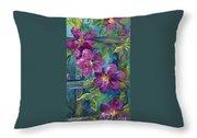 Clematis Turquoise Garden Throw Pillow